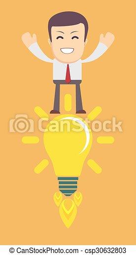 avoir, jeune, idea., homme, ampoule, lumière - csp30632803