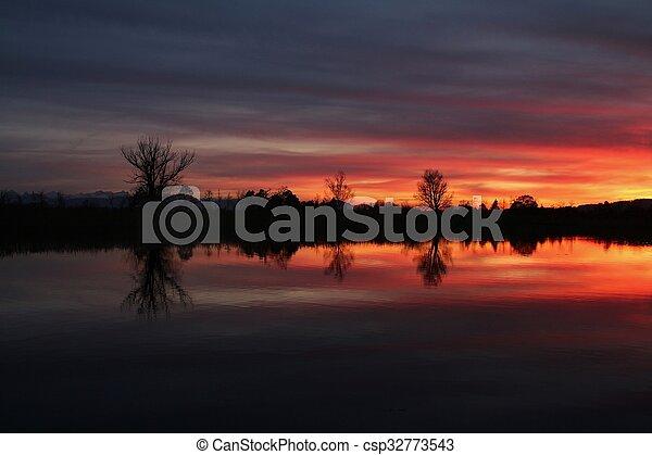 avond, hemel, pfaffikon, kleurrijke, meer - csp32773543