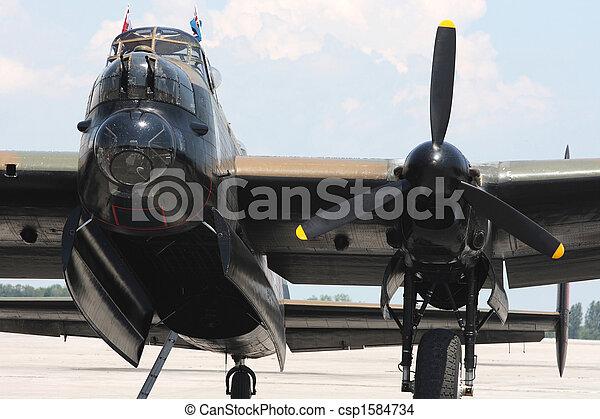 Avro Lancaster bomber. Front wiev. - csp1584734