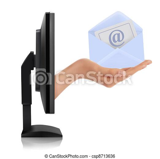 avskärma, hand, övervaka - csp8713636