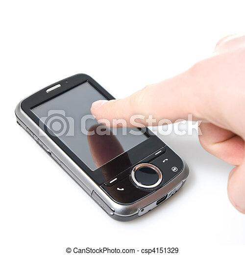 avskärma, isolerat, finger, toucha, vit, pda - csp4151329