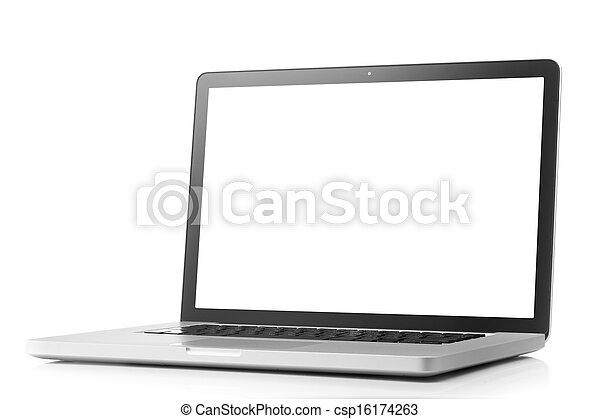 avskärma, laptop, vit, isolerat, tom - csp16174263