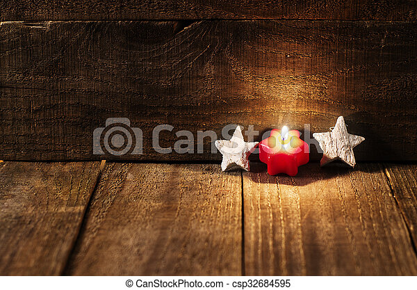 avsluta, bakgrund, trä, space., stjärnor, stearinljus, vit, avskrift, röd - csp32684595