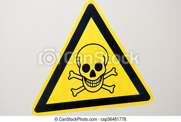 avvertimento, giallo, cranio, segno - csp36481778