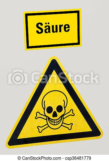 avvertimento, giallo, cranio, segno - csp36481779