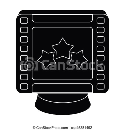Award in the form of a video tape for best actor.Movie awards single icon in black style vector symbol stock illustration. - csp45381492