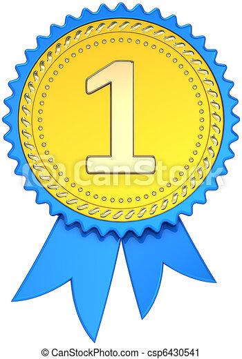 Award Ribbon Golden First Place   Csp6430541