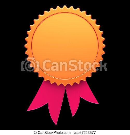 Award ribbon golden red reward medal rosette blank