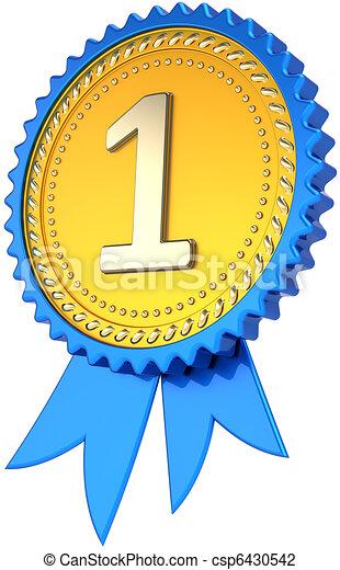 golden award ribbon number one award ribbon badge golden first