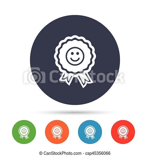 Award smile icon. Happy face symbol. - csp45356066