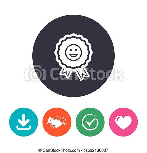 Award smile icon. Happy face symbol. - csp32136087