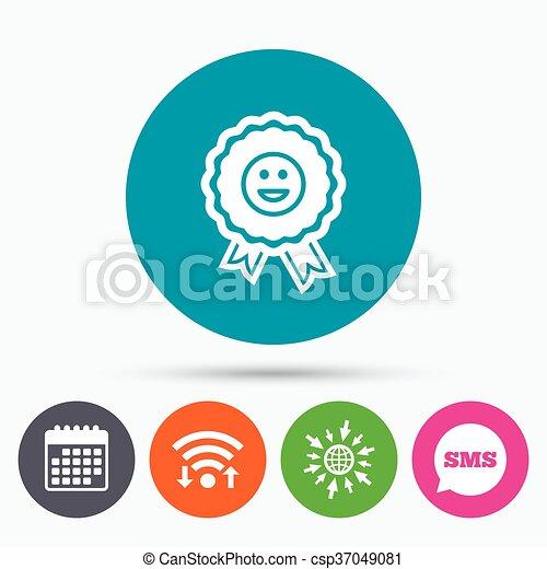 Award smile icon. Happy face symbol. - csp37049081