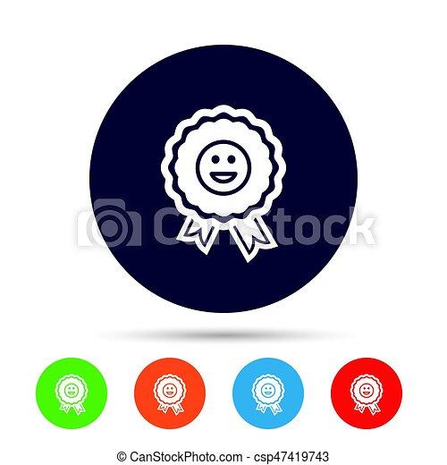 Award smile icon. Happy face symbol. - csp47419743
