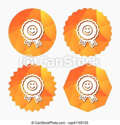 Award smile icon. Happy face symbol. - csp41165125