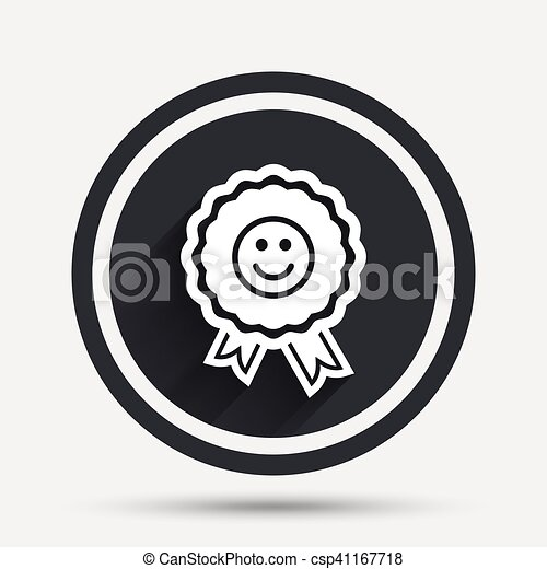 Award smile icon. Happy face symbol. - csp41167718