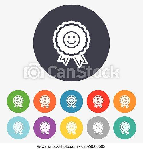 Award smile icon. Happy face symbol. - csp29806502