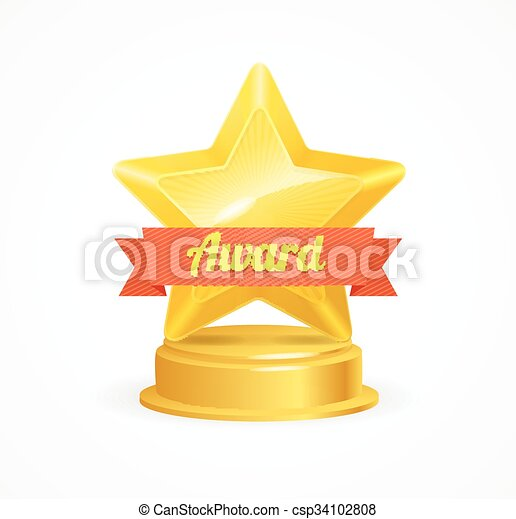 Premio a la estrella dorada. Vector - csp34102808