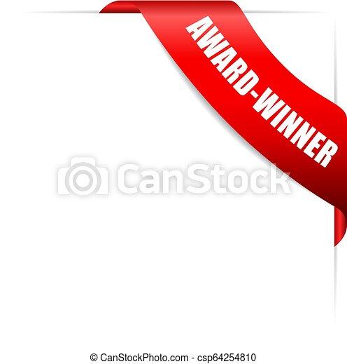 Award-winner red glossy ribbon - csp64254810