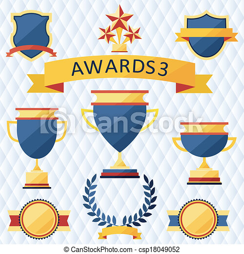 awards and trophies set of icons. - csp18049052