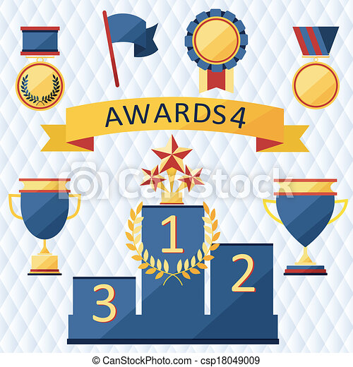awards and trophies set of icons. - csp18049009