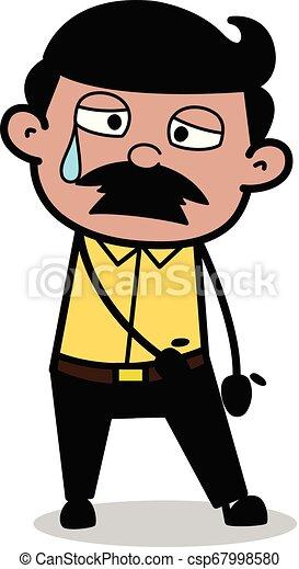 Aweary - Indian Cartoon Man Father Vector Illustration - csp67998580
