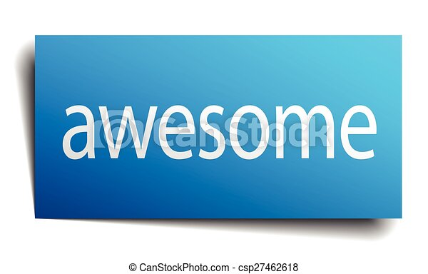 awesome blue square isolated paper sign on white - csp27462618