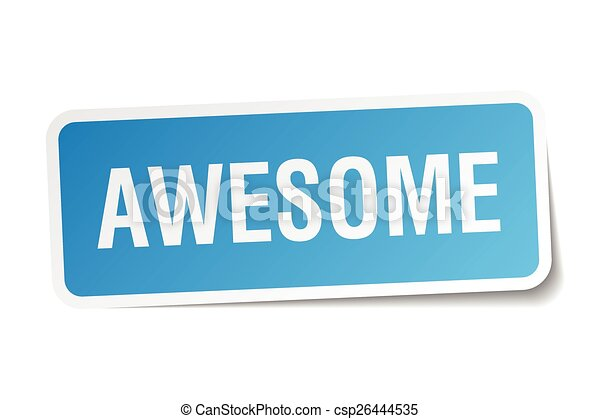 awesome blue square sticker isolated on white - csp26444535