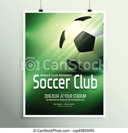 awesome sports flyer poster design template with football in green background