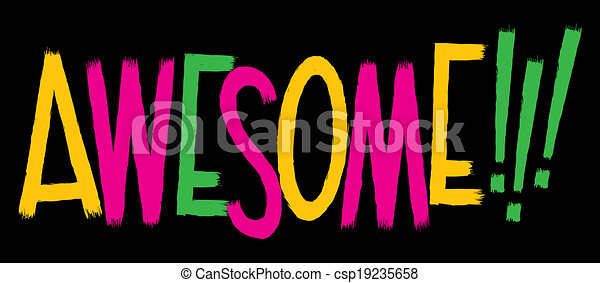 awesome text cartoon text of the word awesome clipart vector rh canstockphoto com Toys Clip Art Wash Face Clip Art