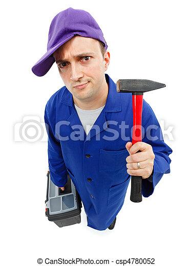 Awkward repairman with hammer - csp4780052