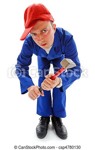 Awkward repairman with hammer - csp4780130