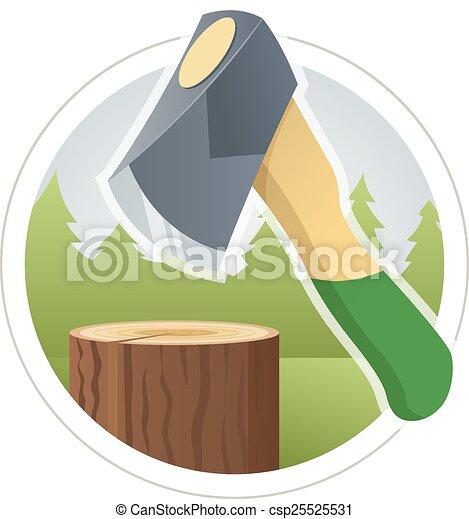 Ax chop  wooden log - csp25525531