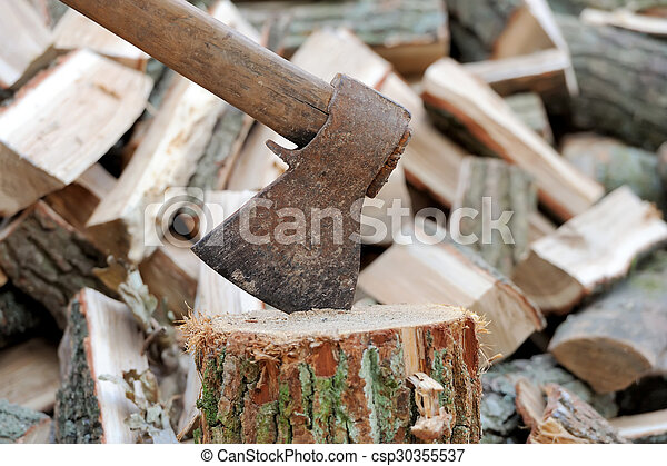 Ax in a log on the background of firewood - csp30355537