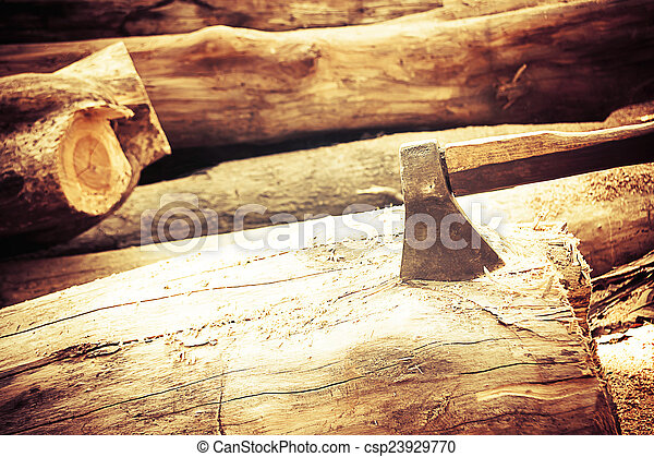 ax on the timber. - csp23929770