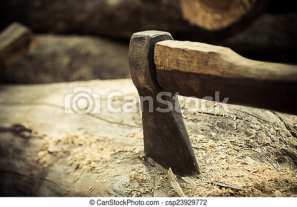 ax on the timber. - csp23929772