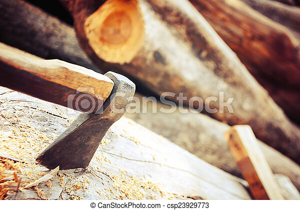 ax on the timber. - csp23929773