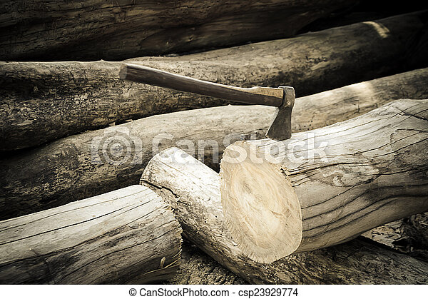 ax on the timber. - csp23929774
