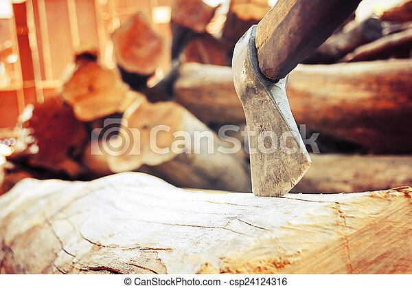 ax on the timber. - csp24124316