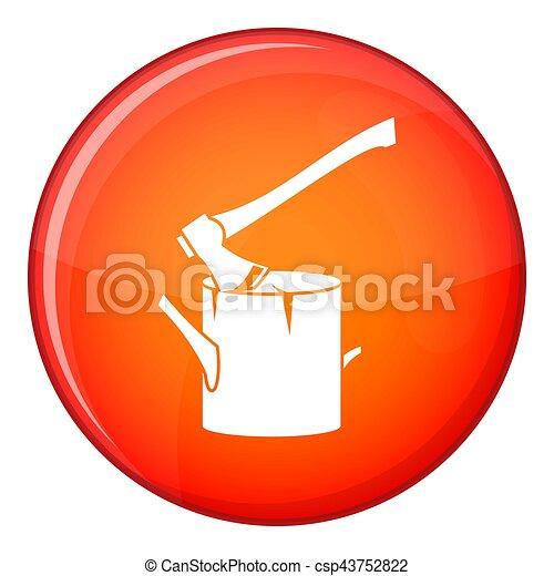 Axe stuck in a tree stump icon, flat style - csp43752822