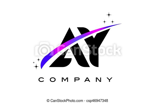 Ay A Y Black Letter Logo Design With Purple Magenta Swoosh And Stars