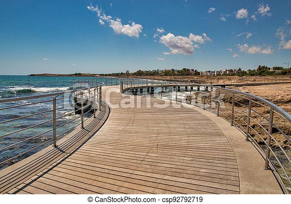 Ayia Napa beach promenade seafront, Cyprus. - csp92792719