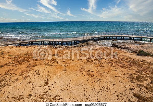 Ayia Napa beach promenade seafront, Cyprus. - csp93925677