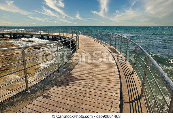 Ayia Napa beach promenade seafront, Cyprus. - csp92884463