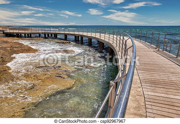 Ayia Napa beach promenade seafront, Cyprus. - csp92967967