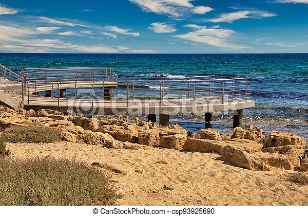 Ayia Napa beach promenade seafront, Cyprus. - csp93925690