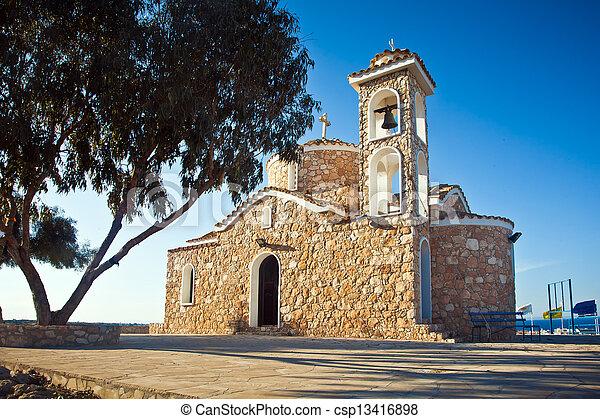 Ayios elias church on top of the hill - csp13416898