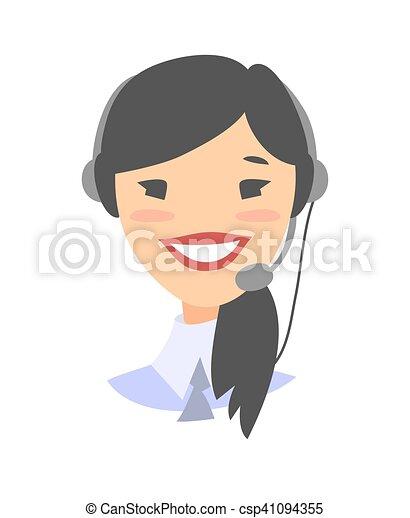 Una alegre y sonriente operadora de teléfono de atención al cliente - csp41094355