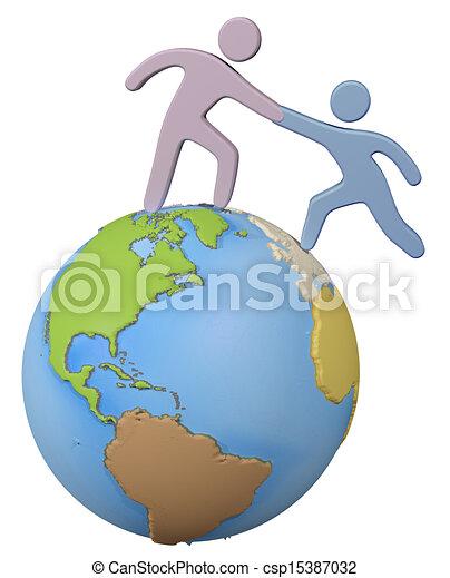 Ayudante para ayudar a amigo en el mundo global - csp15387032