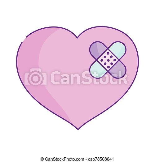 ayuda, corazón, día, venda, valentines, feliz, caricatura, primero, triste - csp78508641