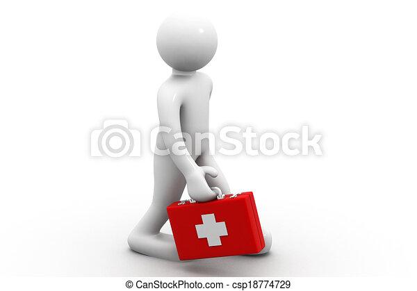 Hombre 3D con una caja de primeros auxilios - csp18774729